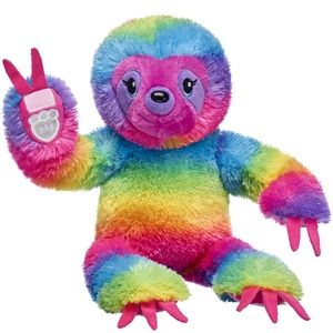 "New! 17"" Rainbow Stripes Sloth Build-a-Bear Plush"